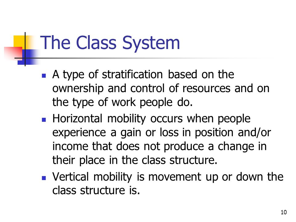 The Class System A type of stratification based on the ownership and control of resources and on the type of work people do.