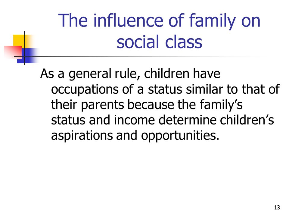The influence of family on social class
