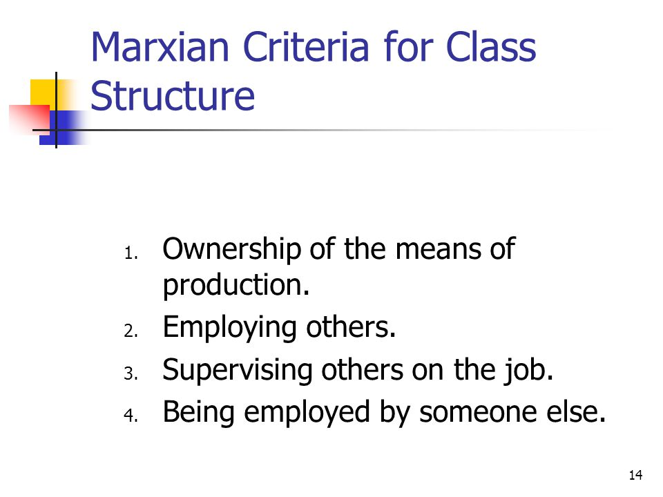 Marxian Criteria for Class Structure