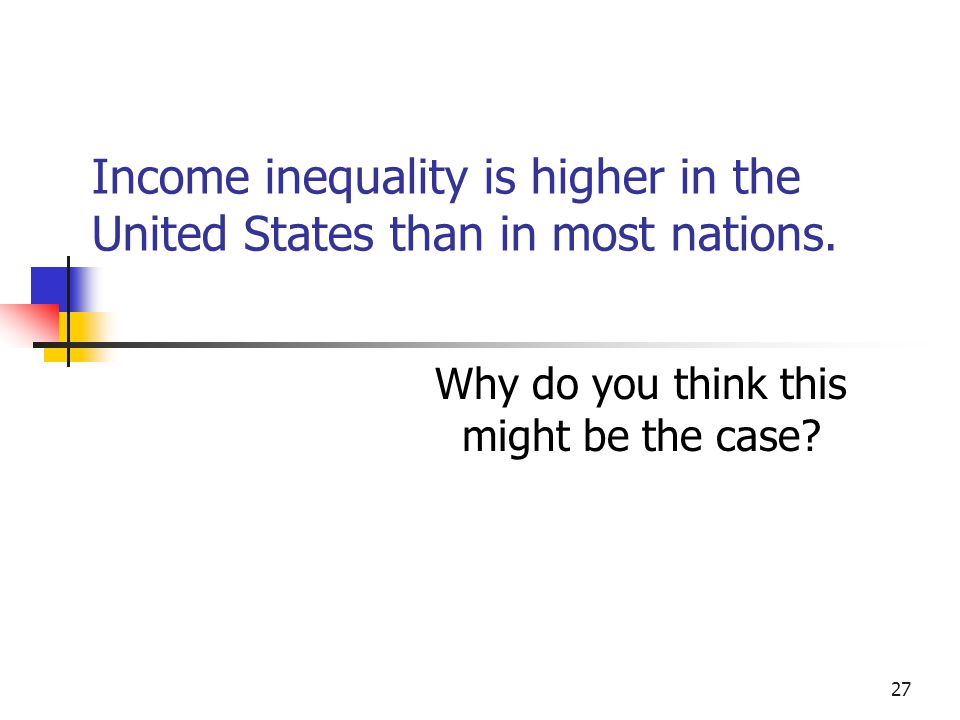Income inequality is higher in the United States than in most nations.