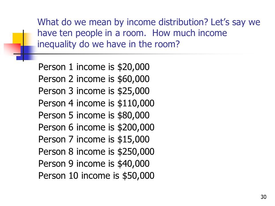 What do we mean by income distribution