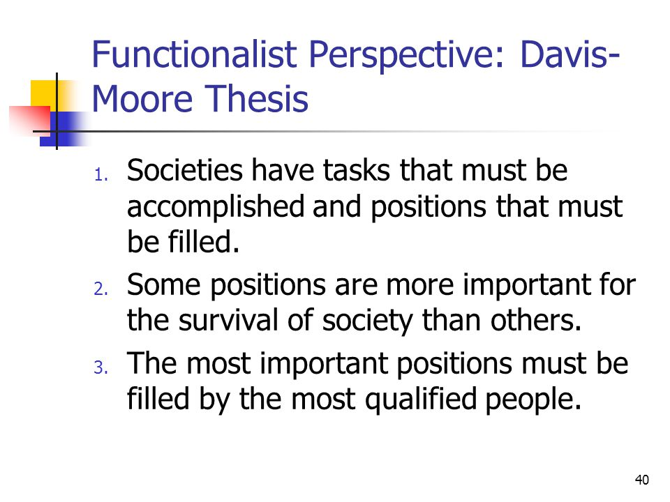 davis moore thesis states that 71compare and contrast the davis-moore thesis of stratification to the analysis a fair criticism of the davis moore thesis is the fact that what is wrong with michael moore.