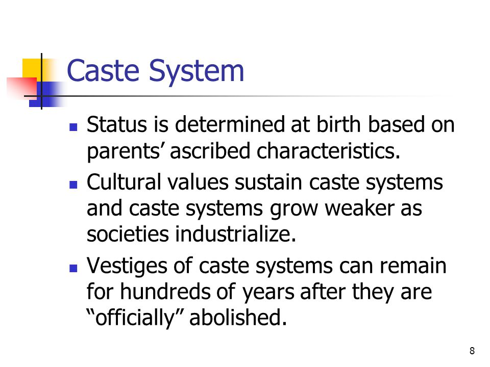 Caste System Status is determined at birth based on parents' ascribed characteristics.