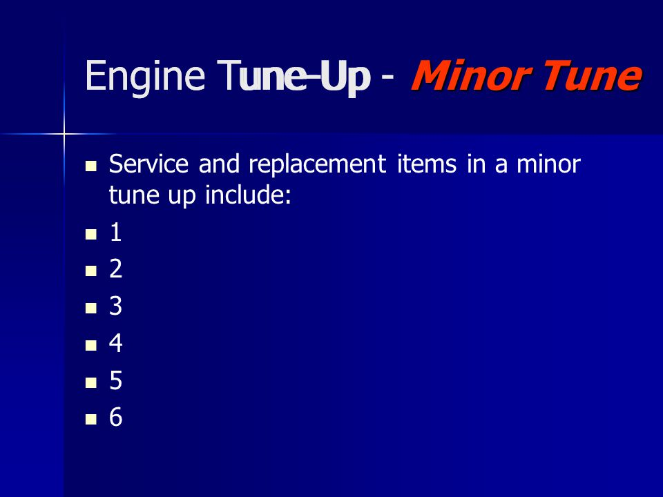 Engine Tune-Up - Minor Tune