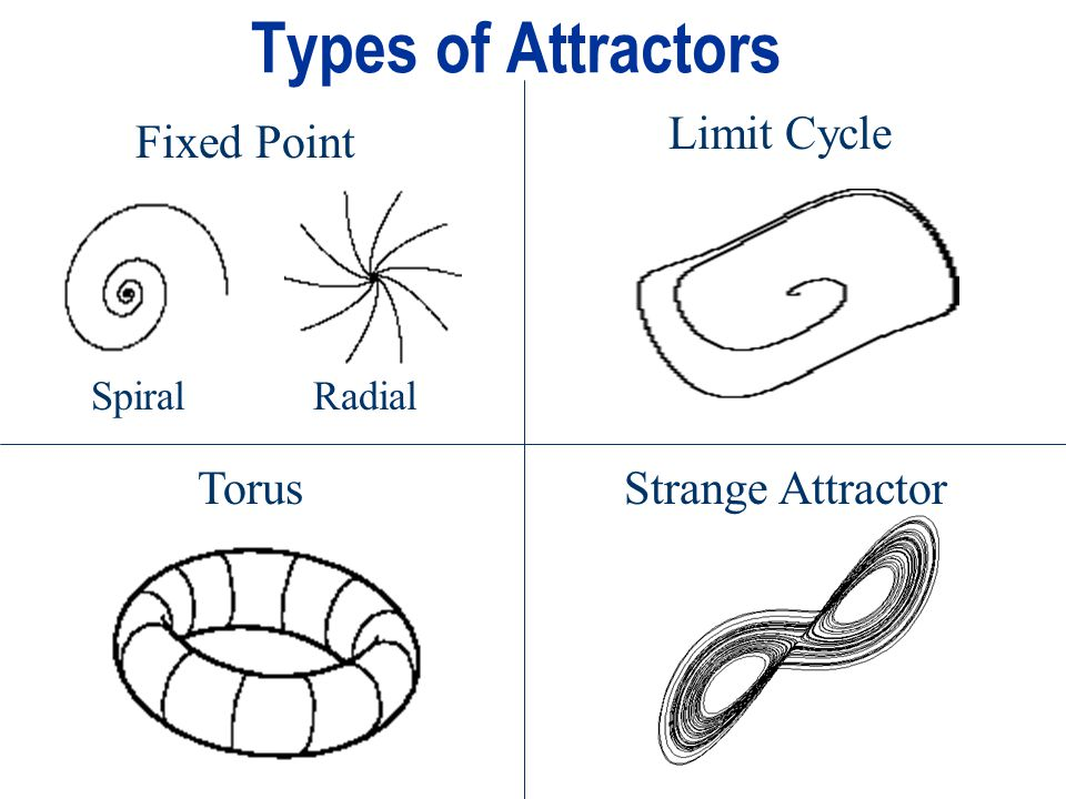 Types of Attractors Limit Cycle Fixed Point Torus Strange Attractor
