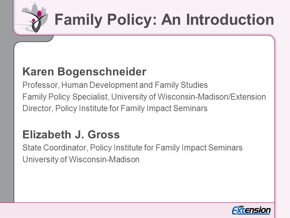 Family Policy: An Introduction