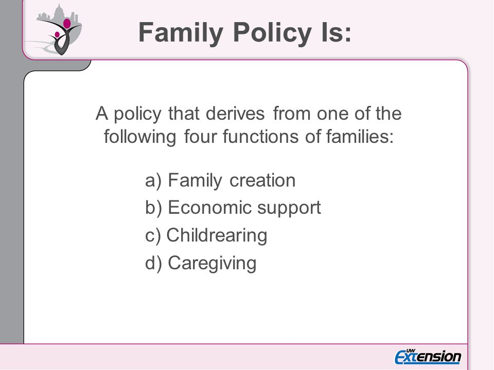 Family Policy Is: A policy that derives from one of the