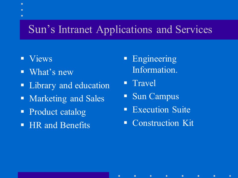 Sun's Intranet Applications and Services