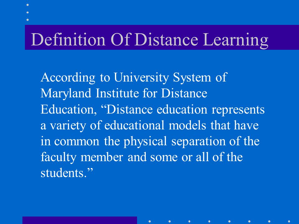 Definition Of Distance Learning