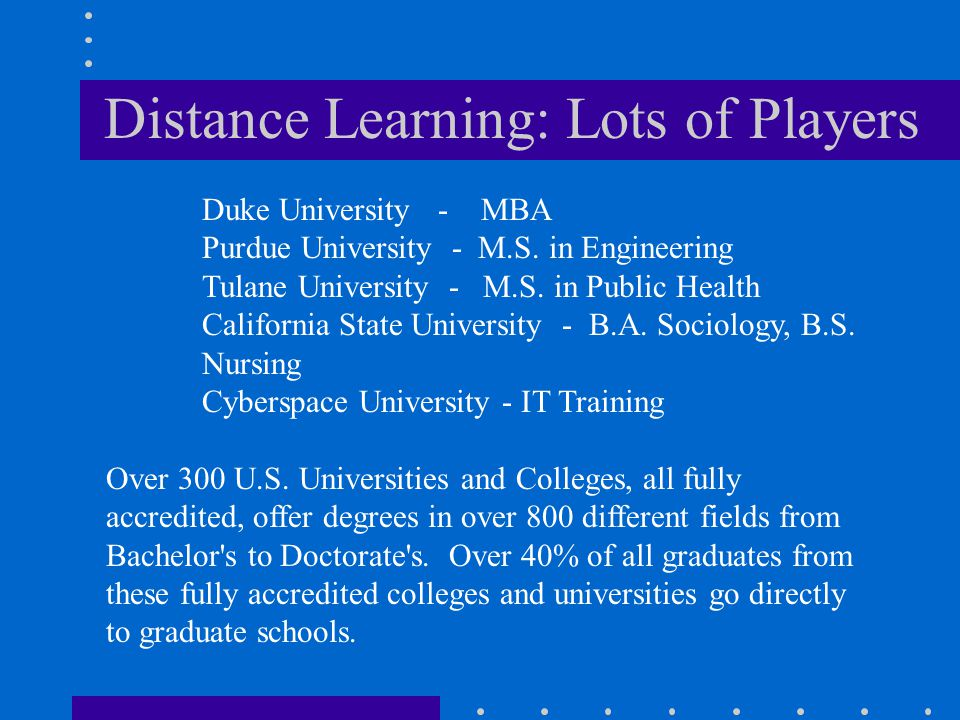Distance Learning: Lots of Players