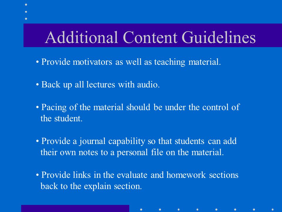 Additional Content Guidelines