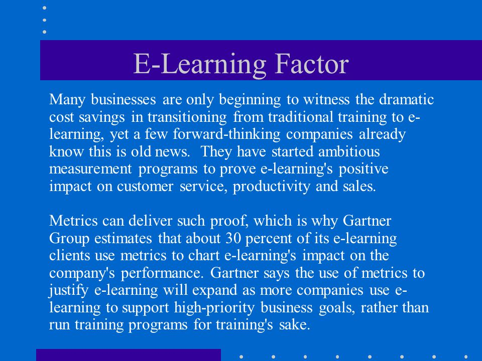 E-Learning Factor