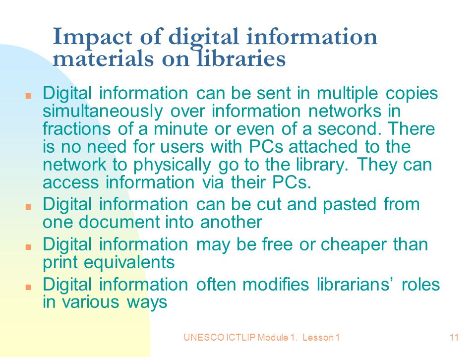 Impact of digital information materials on libraries