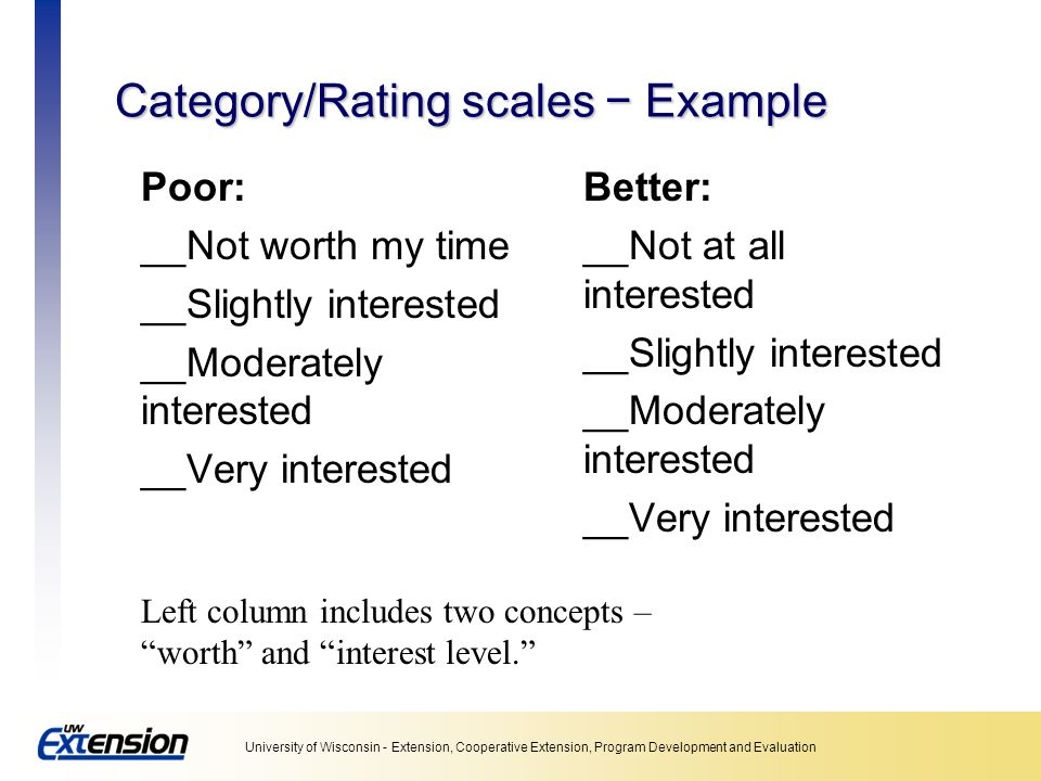 Category/Rating scales − Example