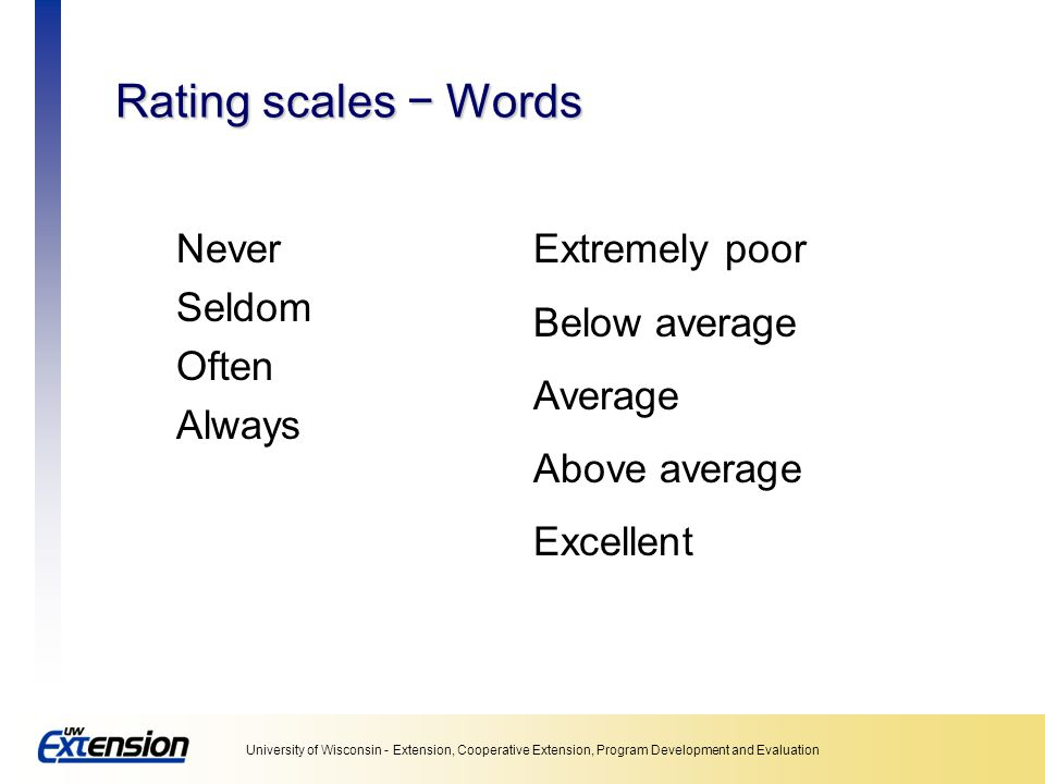 Rating scales − Words Never Seldom Often Always Extremely poor