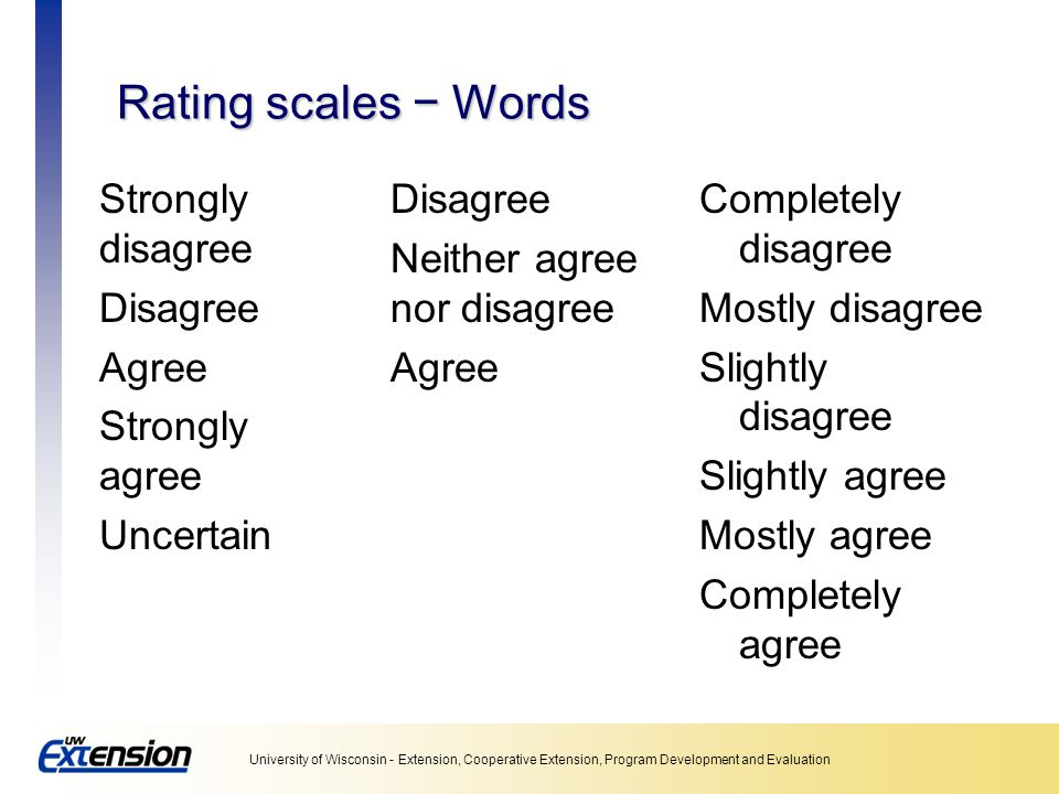 Unit 5: Collecting data Rating scales − Words. Strongly disagree Disagree Agree Strongly agree Uncertain