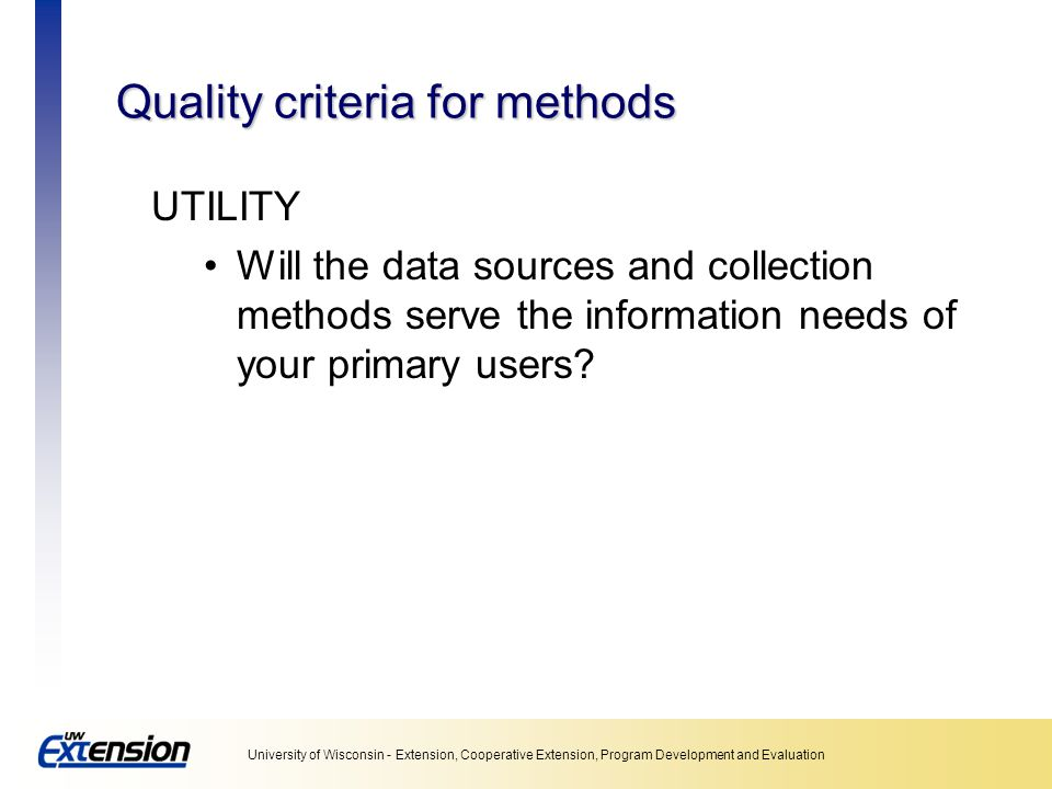 Quality criteria for methods