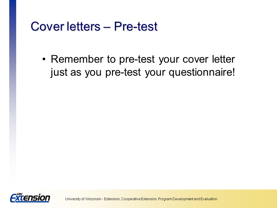 Cover letters – Pre-test
