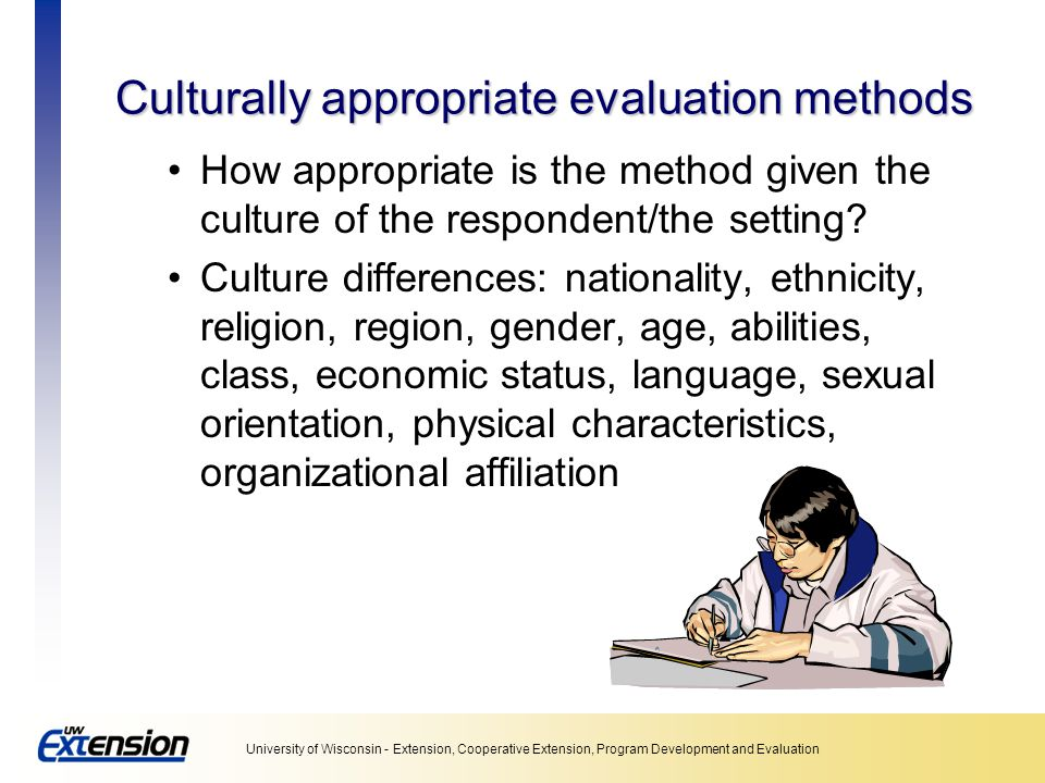 Culturally appropriate evaluation methods