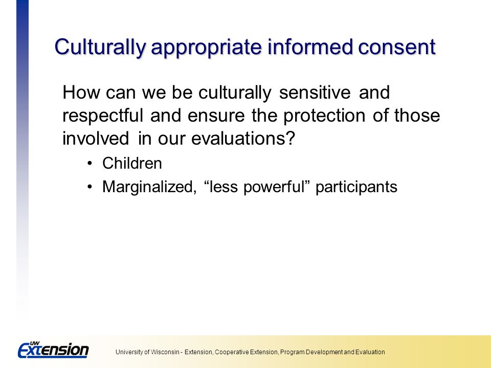 Culturally appropriate informed consent