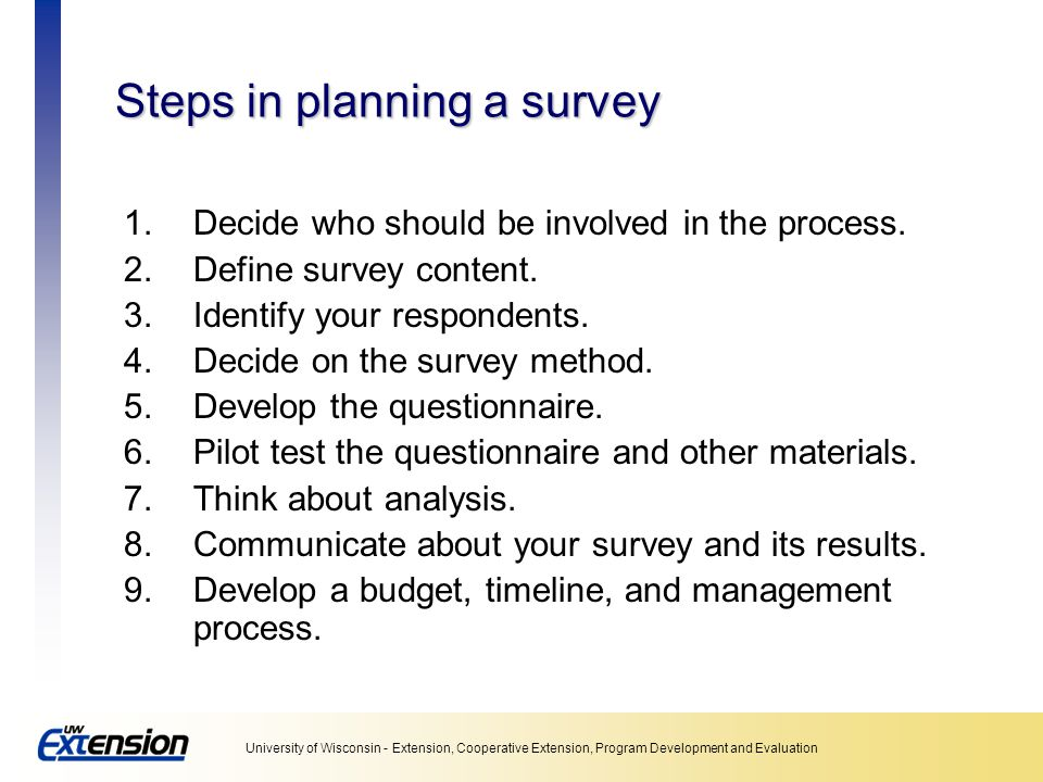 Steps in planning a survey