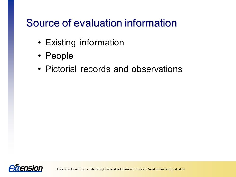 Source of evaluation information