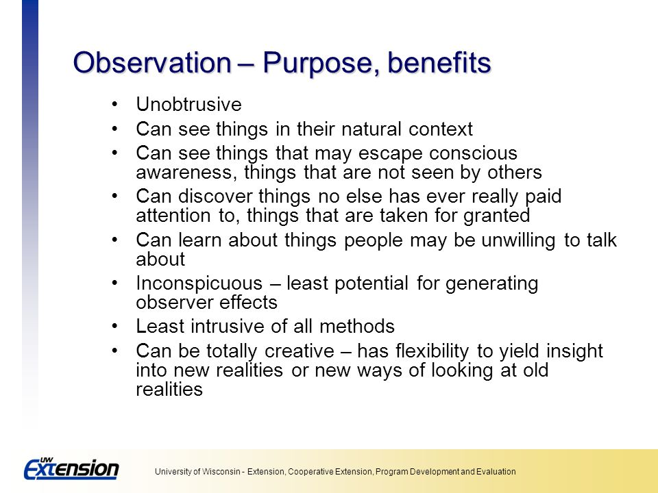 Observation – Purpose, benefits