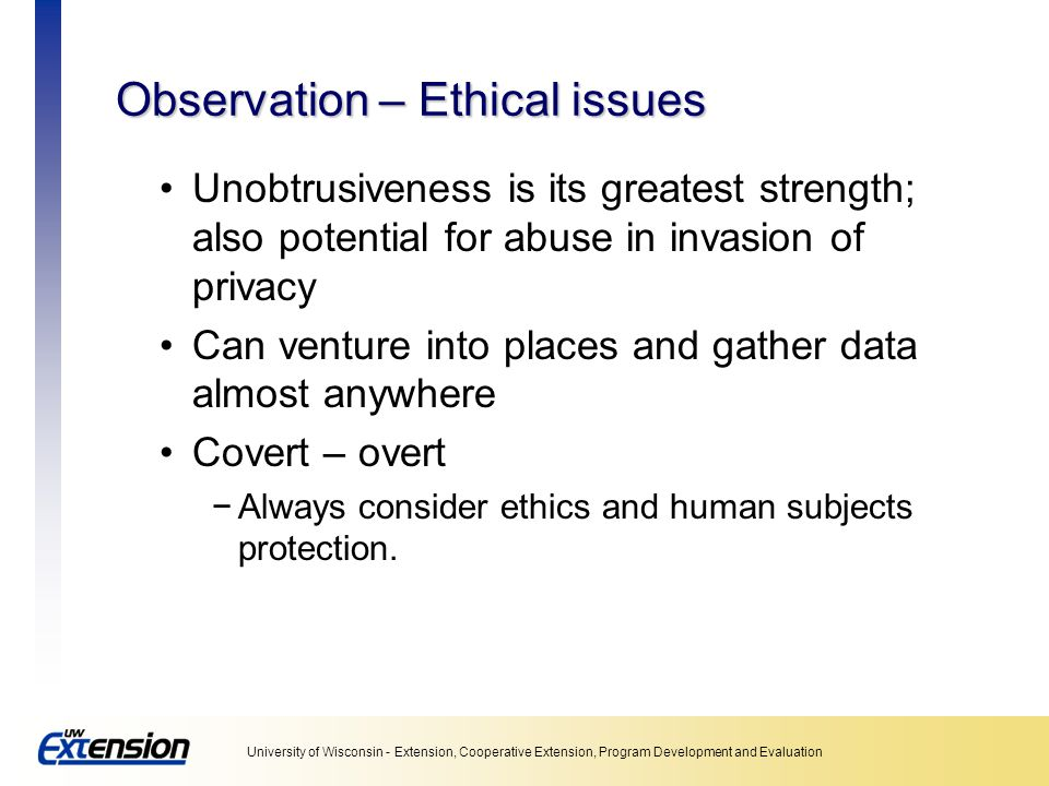 Observation – Ethical issues