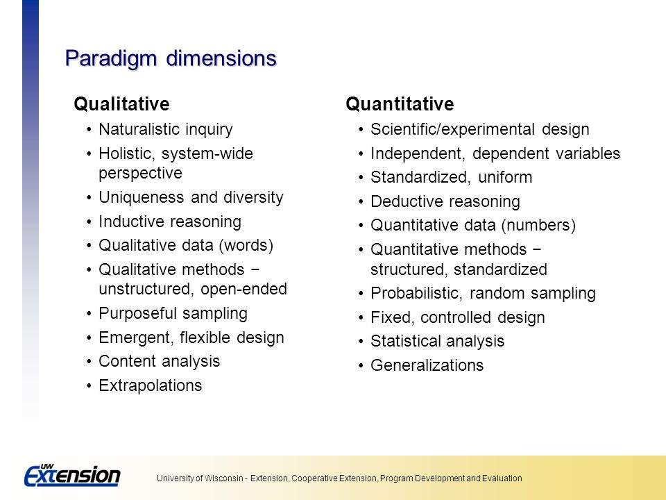Paradigm dimensions Qualitative Quantitative Naturalistic inquiry