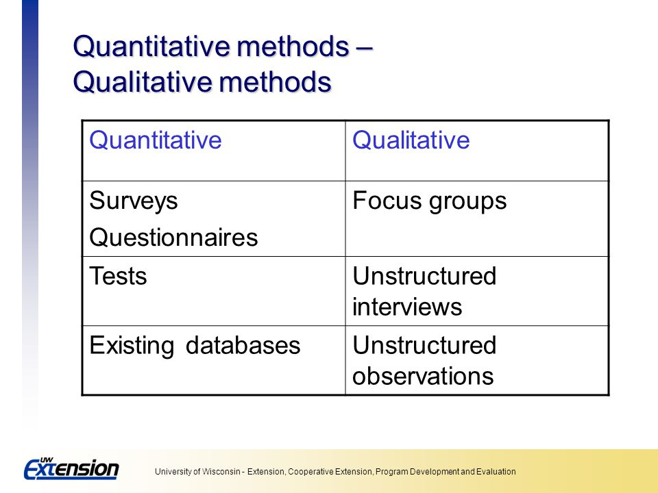 Quantitative methods – Qualitative methods
