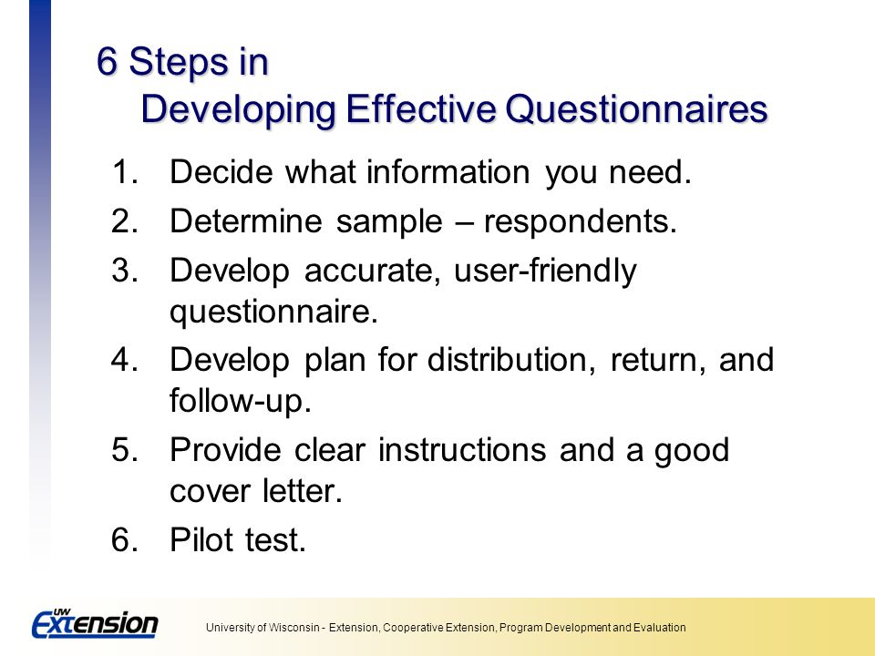 6 Steps in Developing Effective Questionnaires