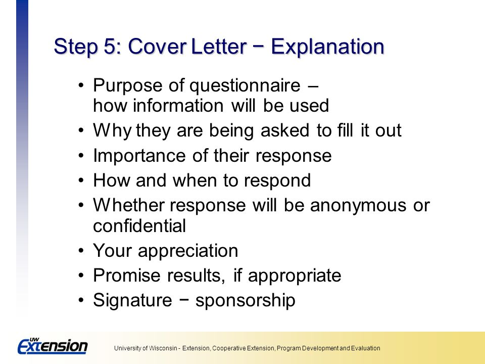 Step 5: Cover Letter − Explanation