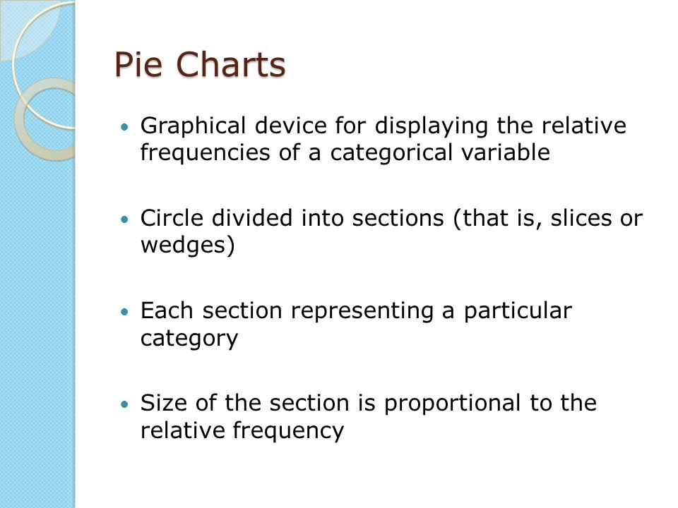 Pie Charts Graphical device for displaying the relative frequencies of a categorical variable.