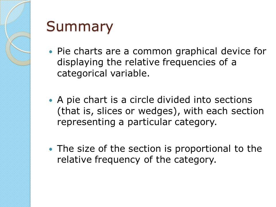 Summary Pie charts are a common graphical device for displaying the relative frequencies of a categorical variable.