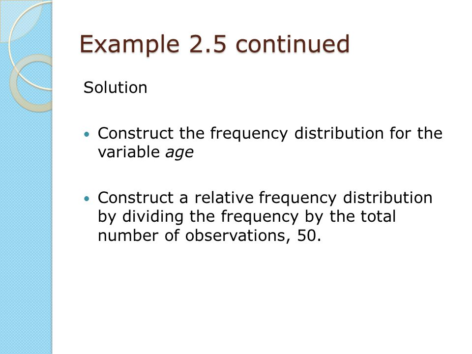 Example 2.5 continued Solution