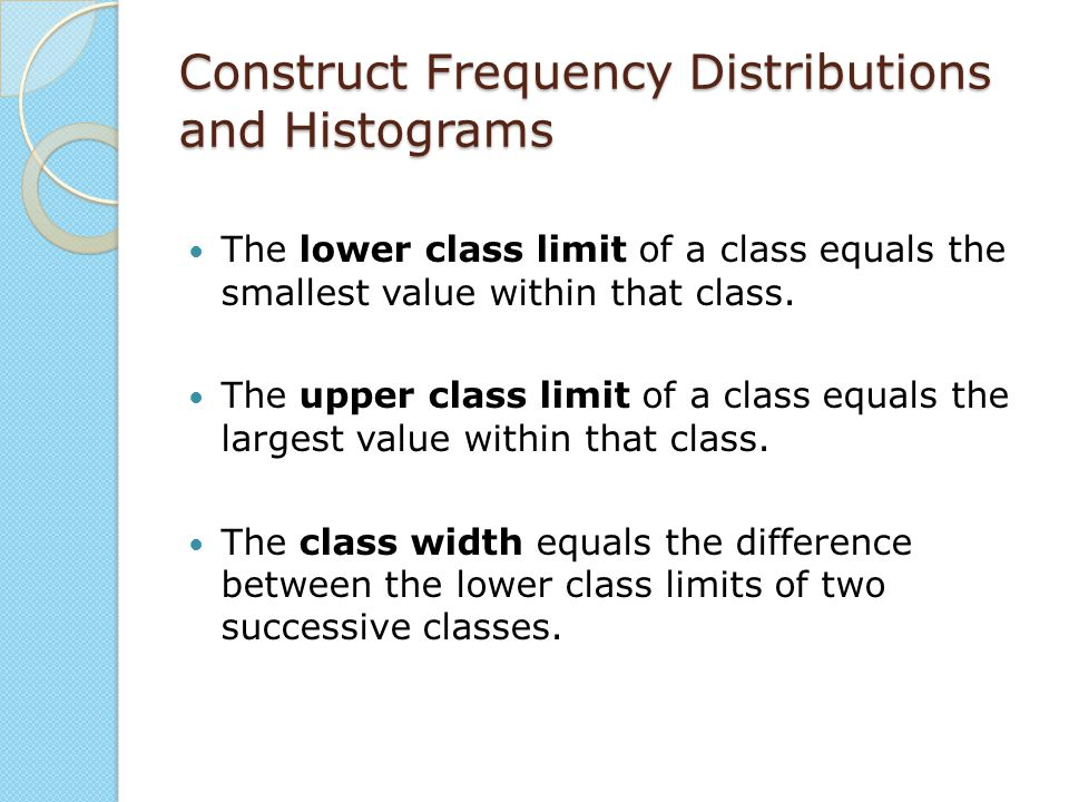Construct Frequency Distributions and Histograms