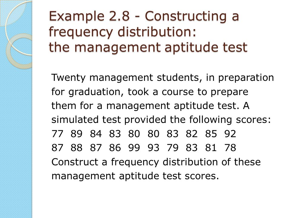 Example 2.8 - Constructing a frequency distribution: the management aptitude test