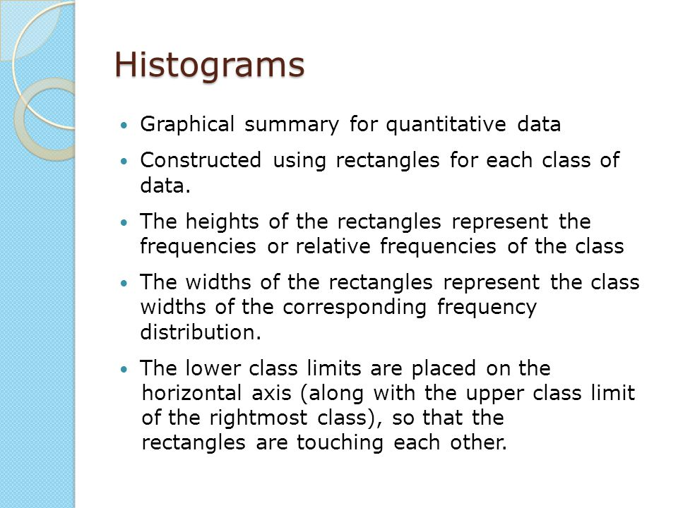 Histograms Graphical summary for quantitative data