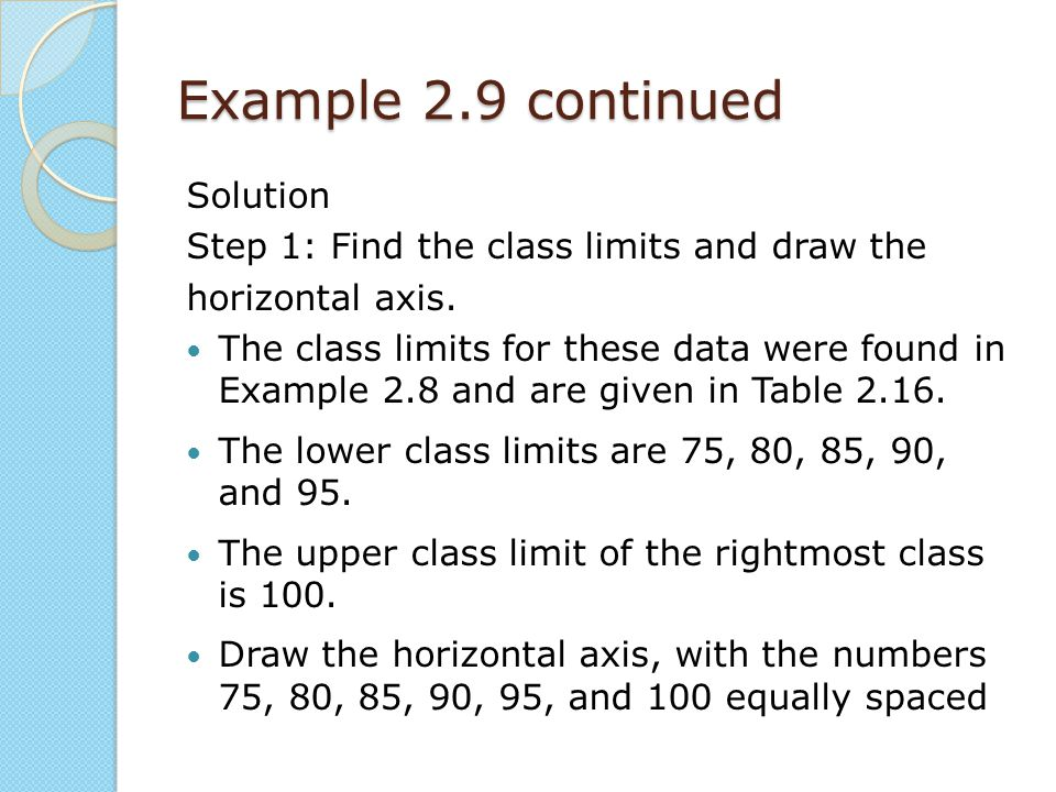 Example 2.9 continued Solution