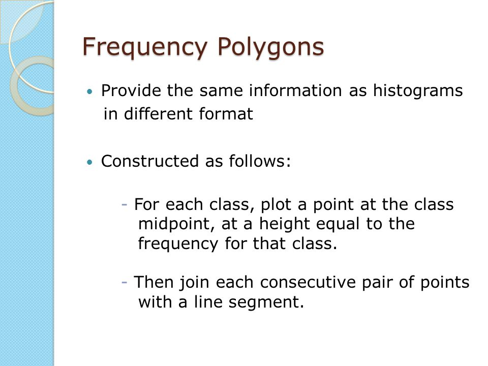 Frequency Polygons Provide the same information as histograms