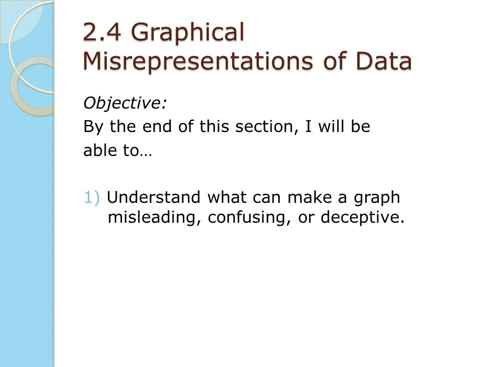 2.4 Graphical Misrepresentations of Data