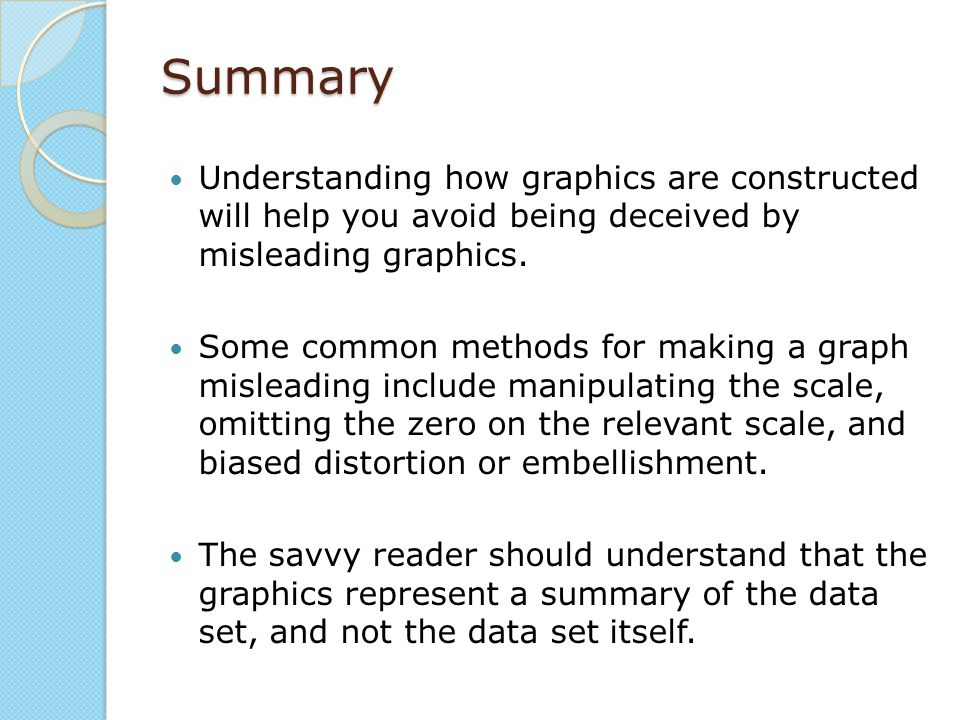 Summary Understanding how graphics are constructed will help you avoid being deceived by misleading graphics.