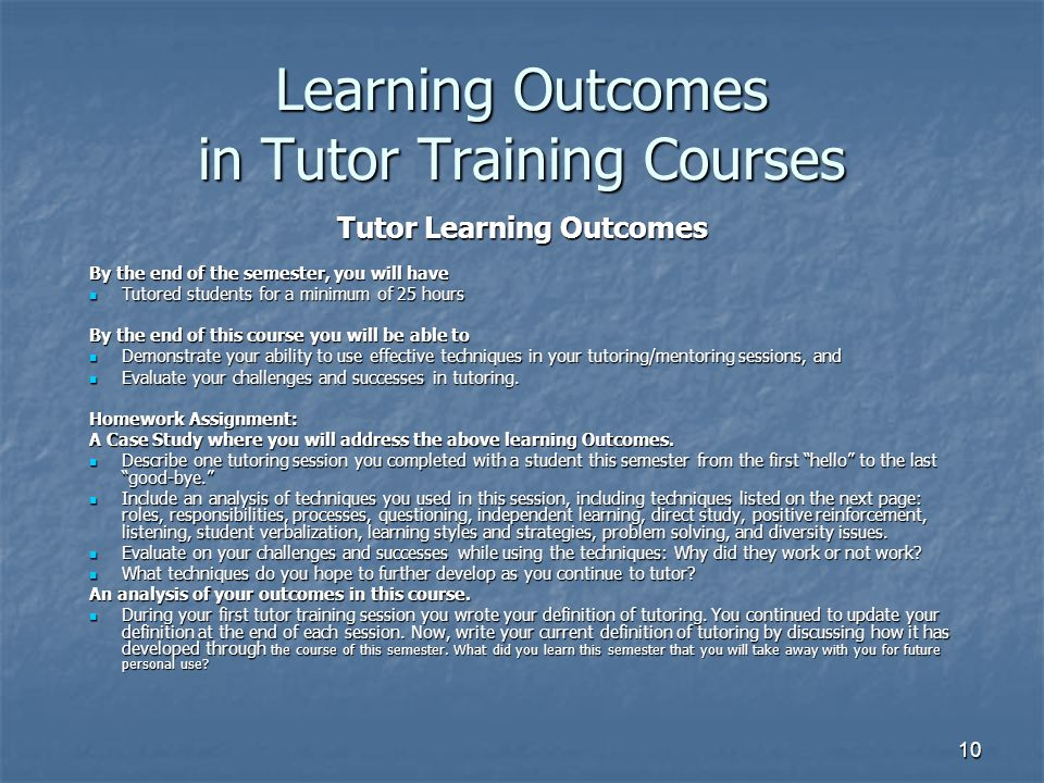 Learning Outcomes in Tutor Training Courses