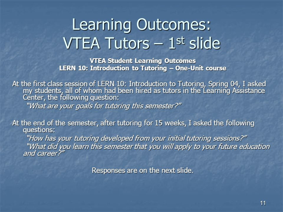 Learning Outcomes: VTEA Tutors – 1st slide