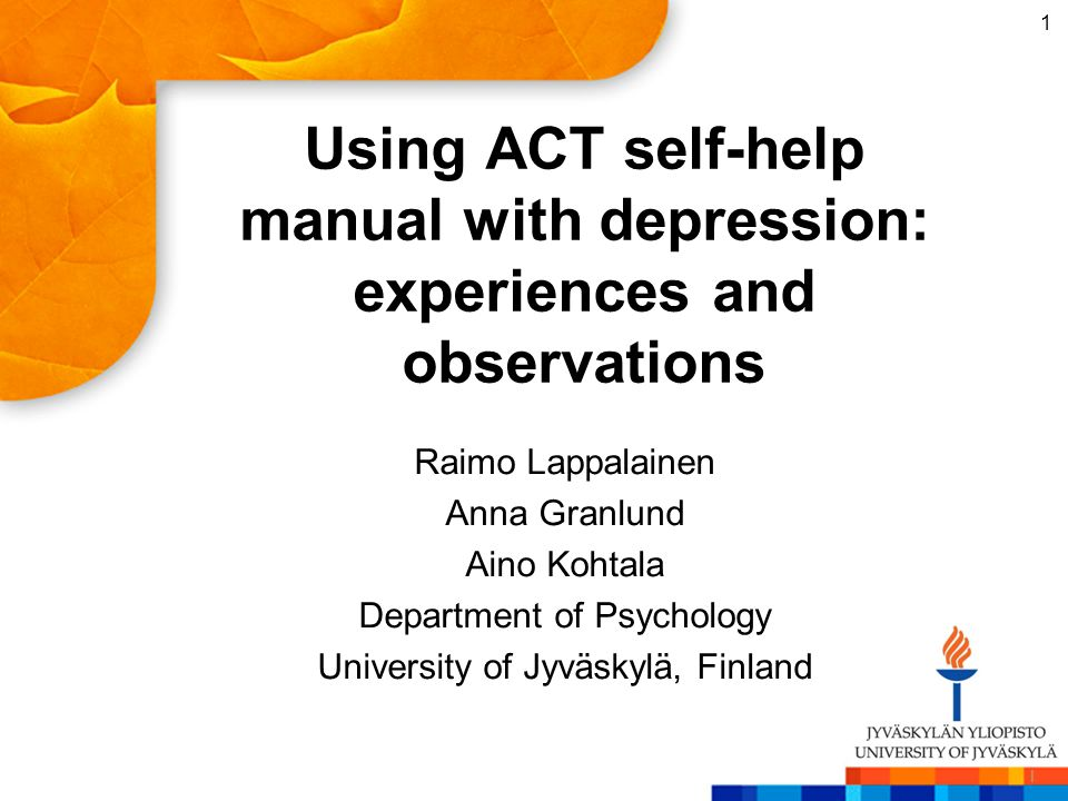 Using ACT self-help manual with depression: experiences and observations