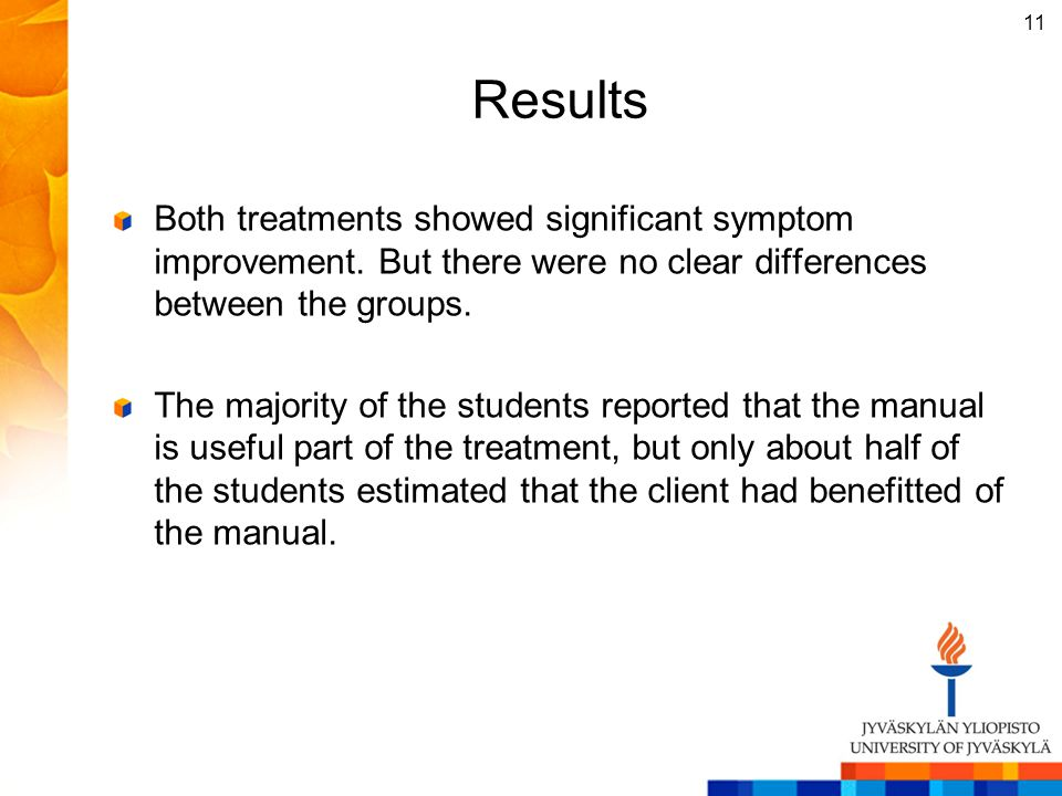 Results Both treatments showed significant symptom improvement. But there were no clear differences between the groups.