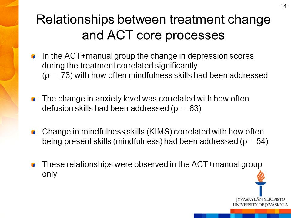 Relationships between treatment change and ACT core processes