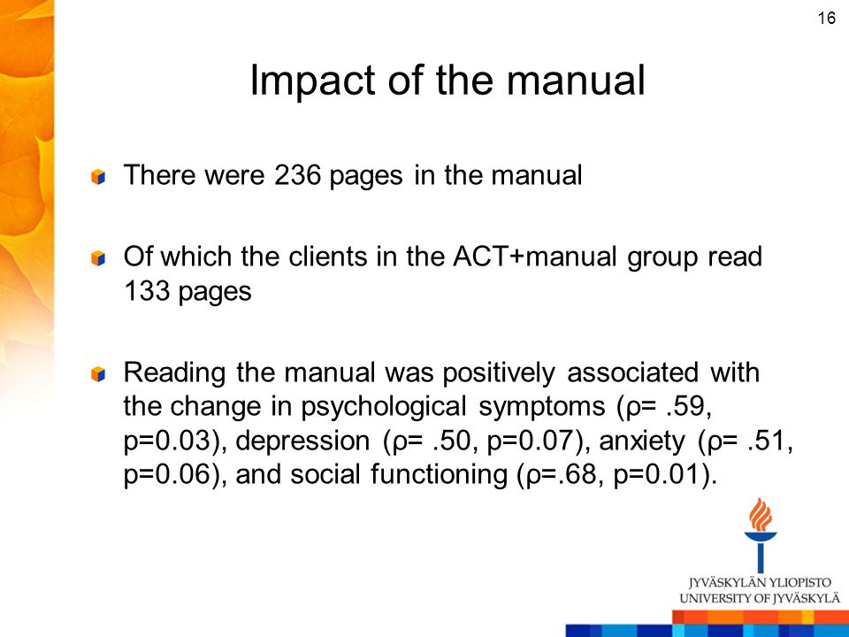 Impact of the manual There were 236 pages in the manual