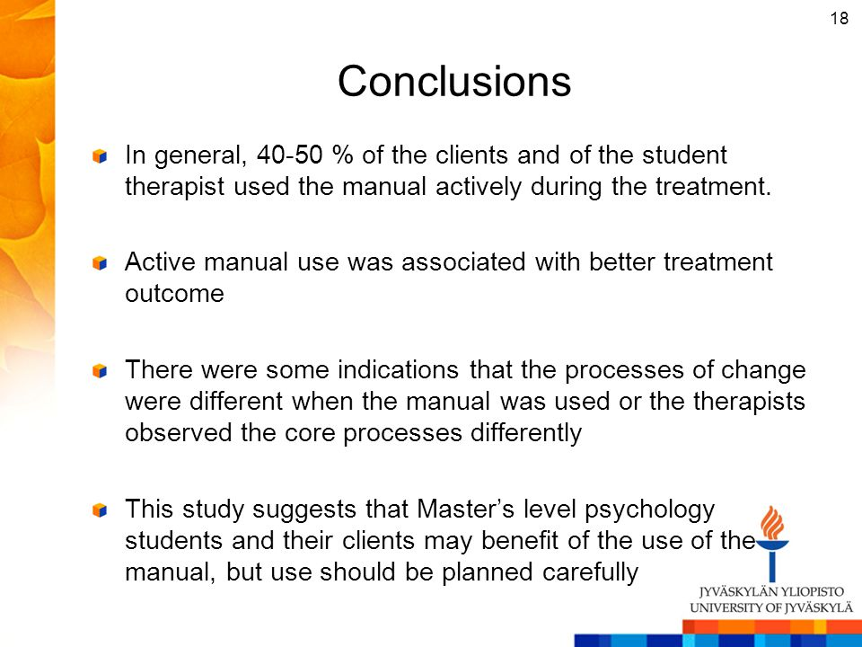 Conclusions In general, 40-50 % of the clients and of the student therapist used the manual actively during the treatment.