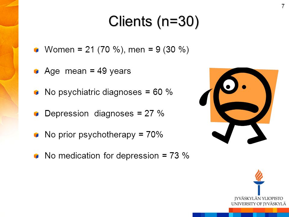 Clients (n=30) Women = 21 (70 %), men = 9 (30 %) Age mean = 49 years